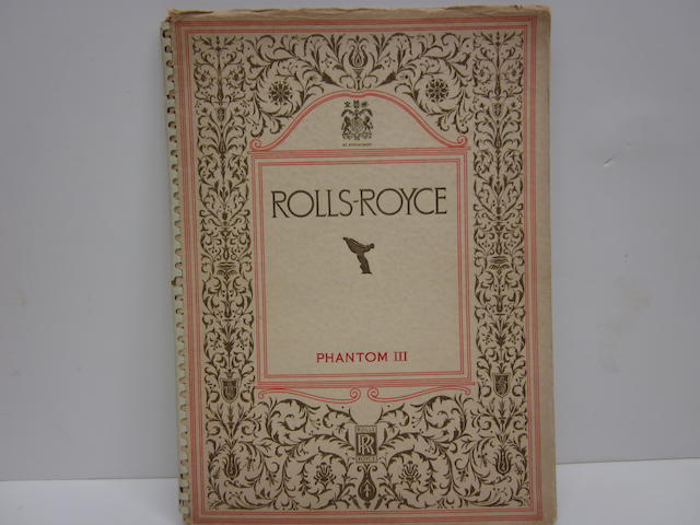 A 1937 Rolls-Royce Phantom III sales brochure,