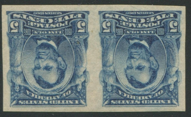 5c blue imperforate 1906-08 Issue (315) pair, lightly hinged, very fine. $525.00