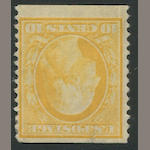 10c yellow 1909 perf 12 coil (356) part o.g., tear at top, small faults, fine appearance, rare stamp. $3,000.00