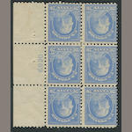 20c ultramarine 1913-15 Issue (438) plate number block of six, original gum, few h.r., almost fine, rare block. $3,250.00