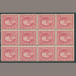 5c carmine error 1916-17 Issue (467) double error in block of twelve, errors never hinged, block possibly very lightly hinged at top center, fine. $1,750.00