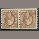 4c brown 1914 perf 10 (446) guide line pair, o.g., almost very fine, with P.F. certificate (1992). $750.00