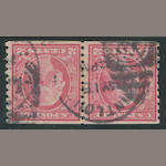 "2c red type II 1916-22 perf 10 (491) pair, St. Louis duplex cancel, ""some rejoined perforation separations"", fine and rare, with P.F. certificate (2011), P.S.E. certificate (1993). $3,750.00"
