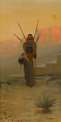Joseph Dwight Strong (American, 1852-1899) Southwest maiden bearing water 36 x 20 1/4in