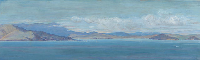 Constance Peters (American, 1878-1935) View of Sausalito and Tiburon with Marin County beyond 11 1/4 x 36in