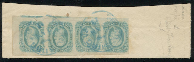 "1863-64 10c greenish blue (12c) strip of four, pre-printing crease, margins enormous all round except touching at left, tied by two strikes of neat blue PETERSBURG VA JAN c.d.s. on piece bearing pencil ms. ""(C)omp.y D Terr.y Tex. Ran"", attractive strip, Ex. Caspary (lot sheet included). $220.00+"
