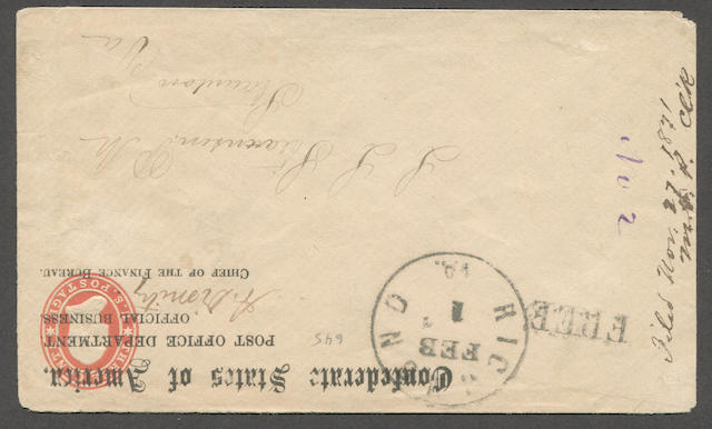 "1860-61 3c red on white entire (U26) overprinted ""CONFEDERATE STATES OF AMERICA P.O. Dept. OFFICIAL BUSINESS"" with signature, bearing RICHMOND VA. FEB 1 c.d.s. and FREE, to Staunton Va., fine and rare, with P.F. certificate (1977). Est. Cash Value $200-300"