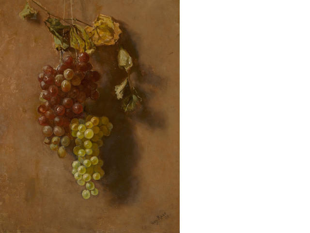 Guy Rose (American, 1867-1925) Grapes suspended, 1886 20 1/4 x 16 1/4in