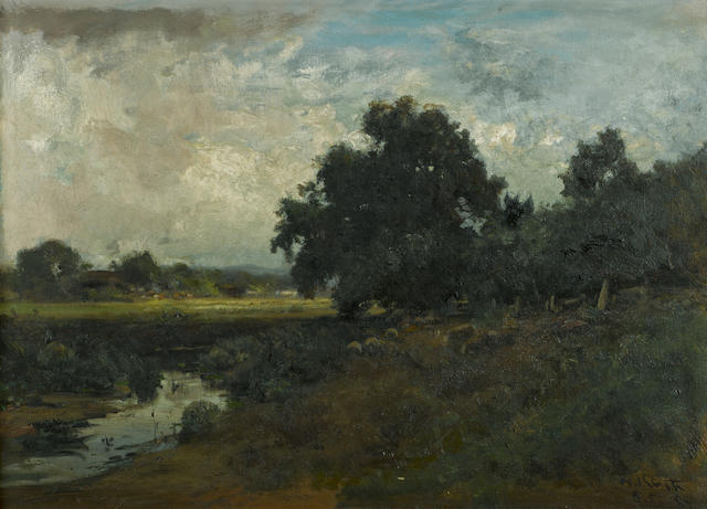 William Keith (Scottish/American, 1838-1911) Pastoral landscape, Marin, 1887 19 3/4 x 27in