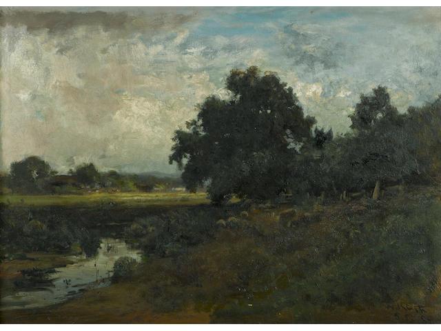 William Keith (Scottish/American, 1838-1911) Pastoral landscape, Marin, 1887 19 3/4 x 27in