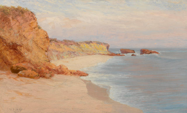 William Lees Judson (American, 1842-1928) Morning fog, Arch Beach 15 x 25in