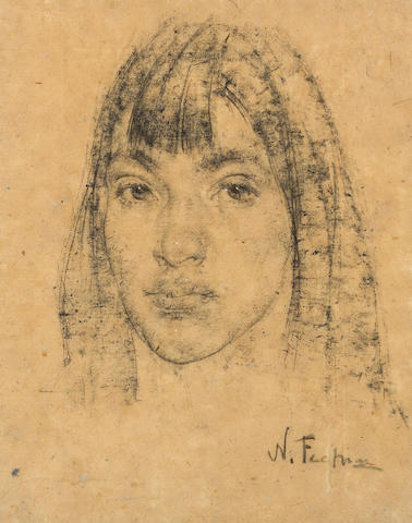 Nikolai Fechin (Russian, 1881-1955) Portrait of Rowena Martinez Myers, circa 1928 sight: 15 1/2 x 12 1/2in