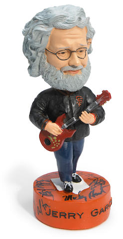 A Jerry Garcia Bobblehead signed on the base by Jerry Garcia, Bob Weir, Mickey Hart,  Bill Walton, Bill Stanger