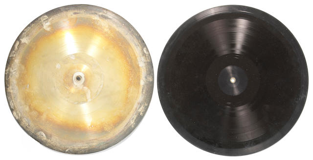 "Steel record pressing plates believed to be from Wake of the Flood, the first album  recorded on the Grateful Dead's private record label, ""Grateful Dead Records,"" 1973"