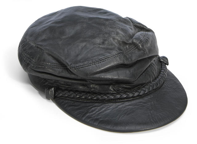 A Merl Saunders custom-made and stage-worn black leather cap