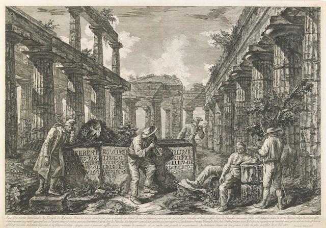 Francesco Piranesi (Italian, born circa 1758-1810); Vue des restes intérieurs du Temple de Neptune (Frontispiece)..., from Différentes vues...de Pesto ;