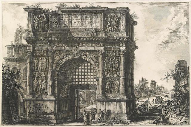 Giovanni Battista Piranesi (Italian, 1720-1778); Veduta dell' Arco di Benevento nel regno di Napoli..., from Vedute di Roma;