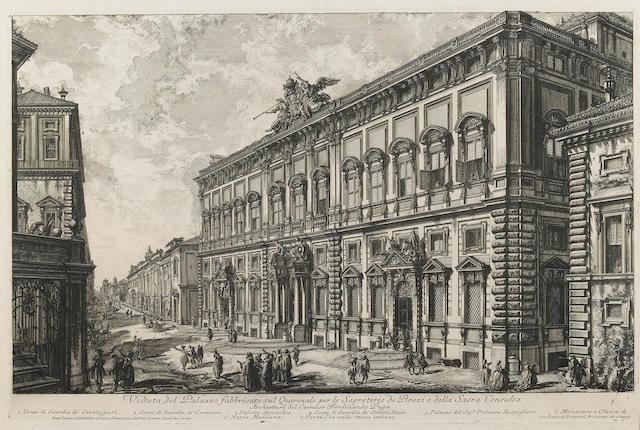 Giovanni Battista Piranesi (Italian, 1720-1778); Veduta del Palazzo fabbricato sul Quirinale..., from Vedute di Roma;