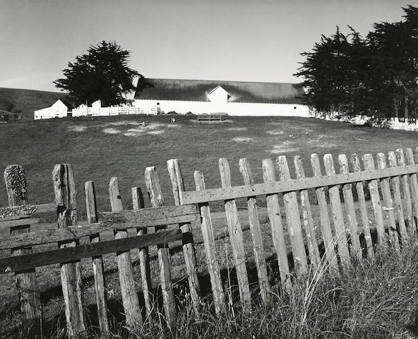 Ansel Adams (American, 1902-1984); Barn, Fence, Tomales Bay;