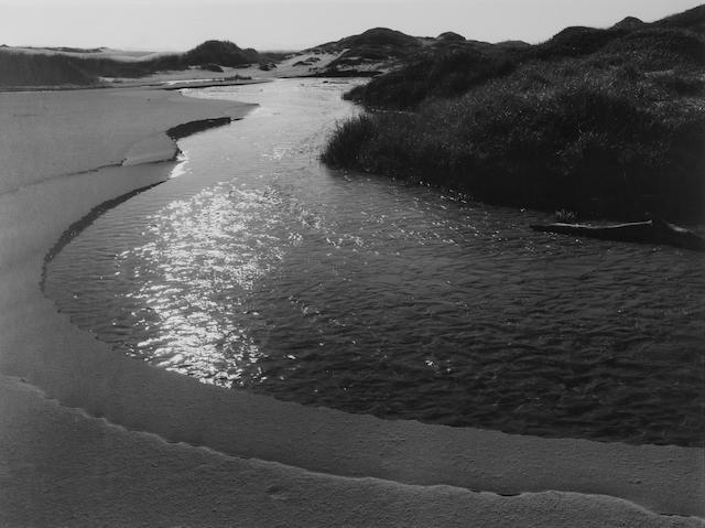 Ansel Adams (American, 1902-1984); Stream, Sea, Clouds, Rodeo Lagoon, Marin County, California;