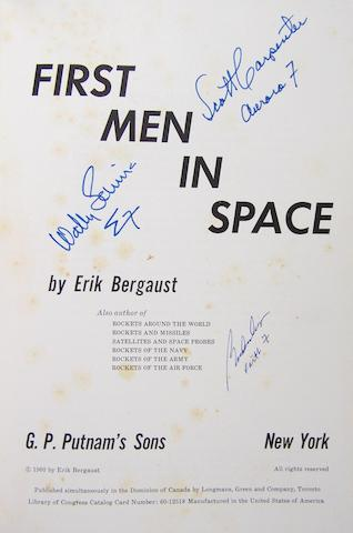 FIRST MEN IN SPACE—SIGNED. BERGAUST, ERIK. First Men in Space. New York: Putnam's Sons, 1960.