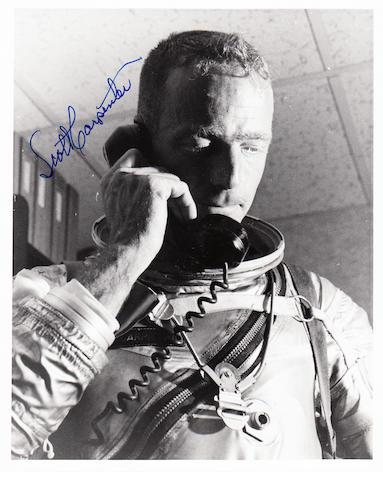 CARPENTER SPEAKS TO JFK. Black and white photograph,