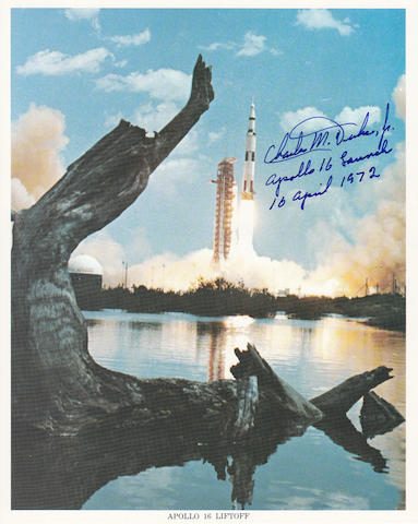 THE APOLLO 16 LAUNCH—SIGNED. Color photolithograph, 10 x 8 inches.