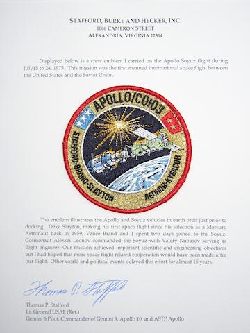 STAFFORD'S ASTP CREW EMBLEM—FLOWN. Flown cloth Apollo Soyuz crew emblem, 4 inches in diameter.