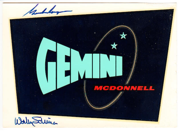 GEMINI PROGRAM LOGO—SIGNED. A 4 x 5½ inch decal featuring the GEMINI - MCDONNELL design logo.