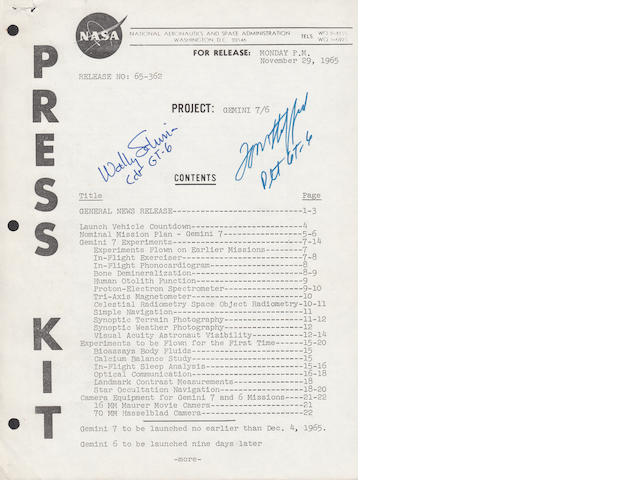STAFFORD'S NASA GEMINI 7/6 FLIGHT INFORMATION – SIGNED. STAFFORD DESCRIBES HIS FLIGHT EXPERIENCES. <BR />