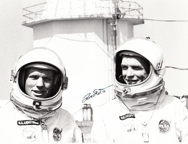 GEMINI 8 CREW AT CAPE KENNEDY. Black and white photograph,