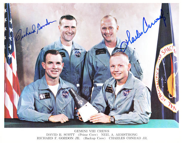 "THE GEMINI 8 ""CREWS."" Color photolithograph,"