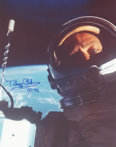 ALDRIN'S SPACEWALK SELF PORTRAIT. Color photograph,