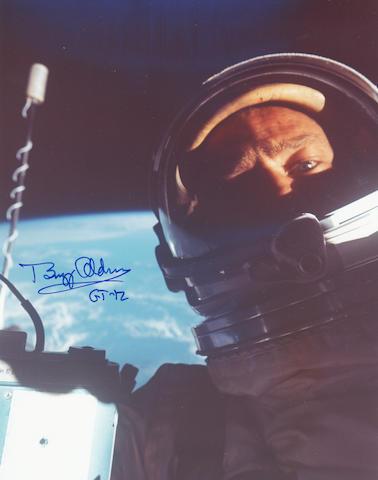 ALDRIN'S SPACEWALK SELF PORTRAIT. Color photograph,