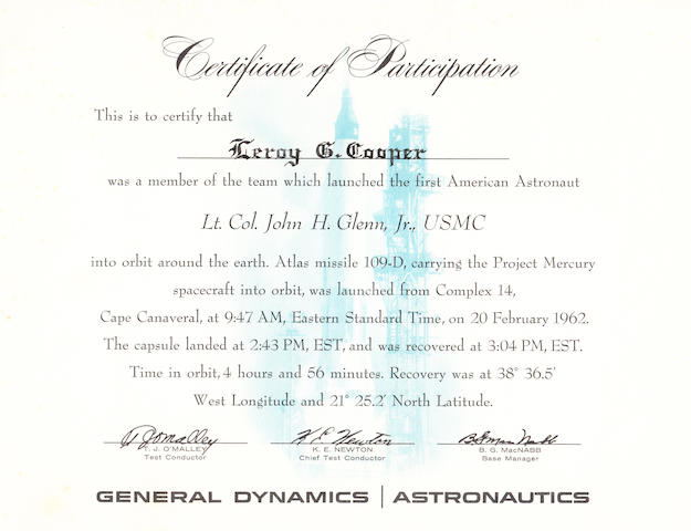 "COOPER'S CERTIFICATE FOR GLENN'S LAUNCH. ""Certificate of Participation,"" issued by General Dynamics Astronautics."