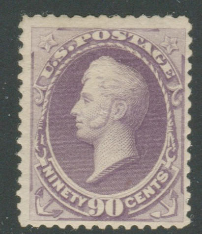 90c purple 1888 Issue (218) lovely color, o.g., fine, with P.S.E. certificate (1994). $900.00