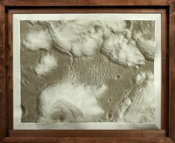 MASSIVE APOLLO 17 LUNAR SURFACE RELIEF MAP. High-relief topographical map depicting the dramatic terrain of the Apollo 17 landing site at Taurus-Littrow,