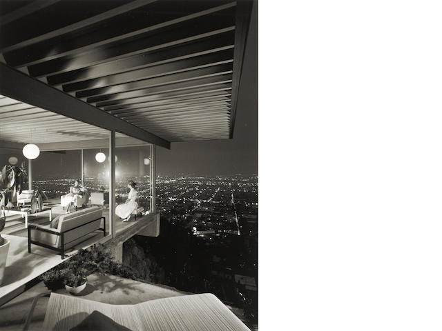 Julius Shulman, Case Study House #22 by Pierre Koenig, Los Angeles, California [2 girls], 1960, Gelatin silver print, 24 x 20 inches, Signed & dated in pencil on verso