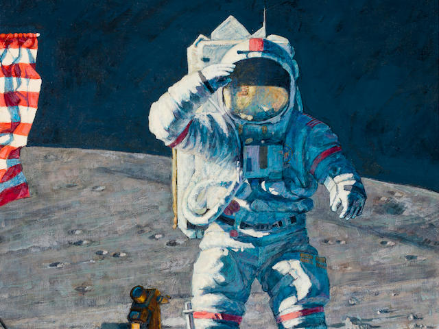 "AN ALAN BEAN ORIGINAL. ""John Young Leaps into History,"" an original painting by Alan Bean,"
