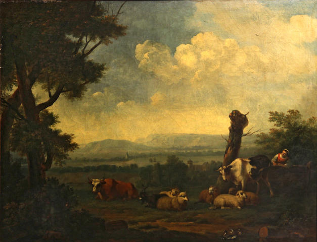 Attributed to Jan Kobell II, called Der Utrechter (Delftshaven 1778-1814 Amsterdam) A landscape with a shepherdess and animals by a stream 25 x 30 1/2in