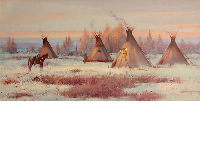 Ace Powell (American, 1912-1978) Tepees on the winter plains 12 x 24in