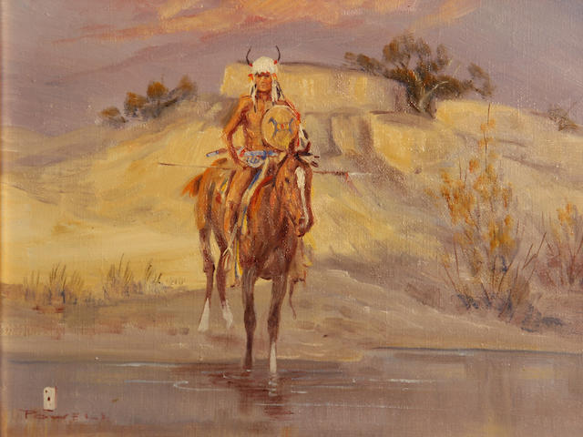 Ace Powell (American, 1912-1978) A Plains warrior on horseback 9 x 12in