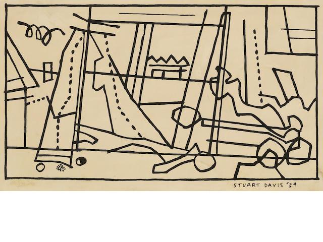 Stuart Davis (American, 1894-1964); New Jersey Landscape (Seine Cart);