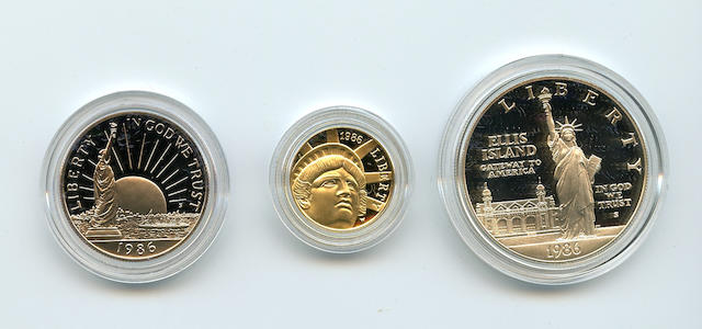 1986 3 Piece Statue of Liberty Proof Set in Gold and Silver