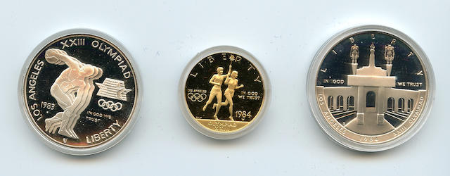 1984 3 Piece Olympic Proof Set in Gold and Silver