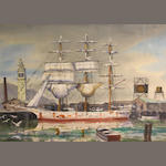 Russell Buckingham, Harbor scene, signed, w/c, 21 1/2 x 29in