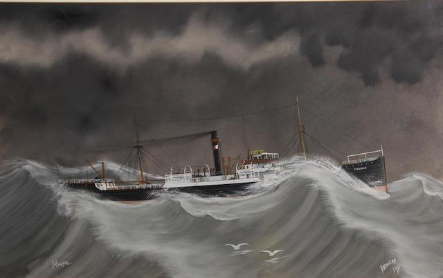 F. Corpuz (early 20th Century) The steamer 'Dalrazan' in a storm; 'S.S. Westward Ho' (2) first, sight 15 3/4 x 26in; second, sight 15 1/2 x 23 1/4in