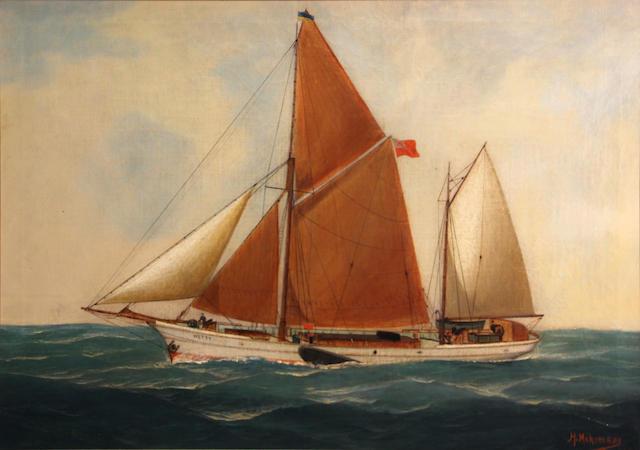 John Henry Mohrmann (Belgian, 1857-1916) The Hetty at sea, 1903 20 x 27 3/4in