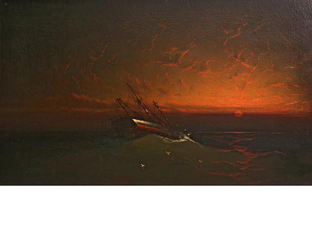 Vander Hyde (American, 20th Century) Shipwreck at sunset 30 x 50in