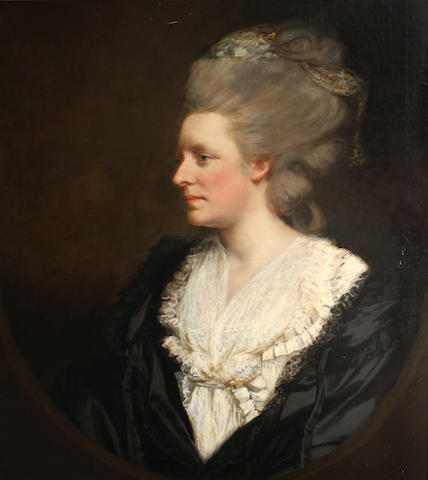 Attributed to James (Thomas J.) Northcote (British, 1746-1831) A portrait of a lady, wearing a white gown and black cloak, thought to be Mrs. Hughes 30 x 25in